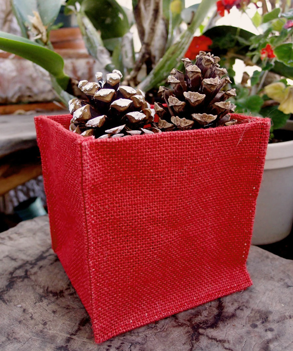 "Red Jute Square Holder - 5"" x 5"" x 5"""
