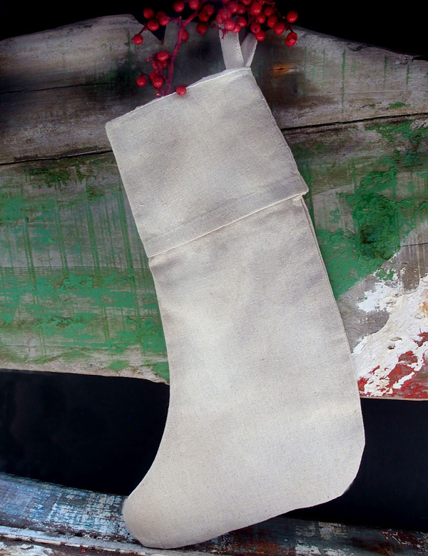 Linen Christmas Stocking with Cotton Lining 16 inch - 6pcs/pack