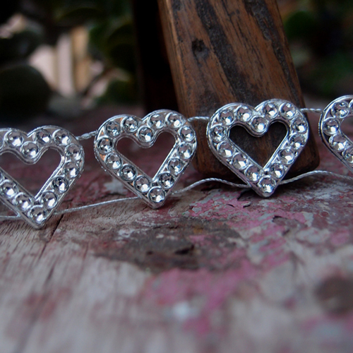 Faux Diamond Trim with Hearts