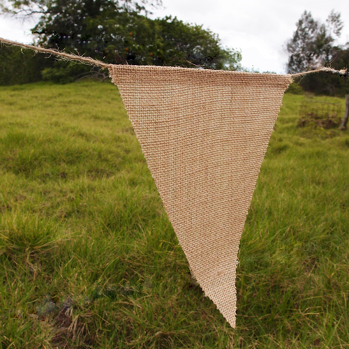 "Natural Burlap Triangle Pennant Banner - 8"" x 10"" triangle"