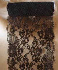 "Black Chantilly Lace Runner - 14"" x 10Y"