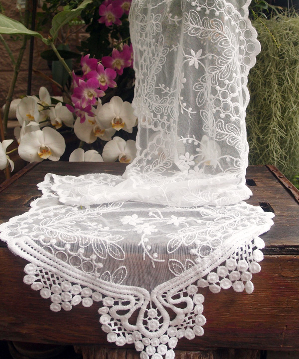 "White Lace Table Runner - 12"" x 74"""