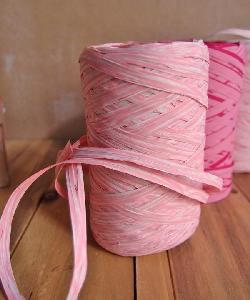 Upscale Raffia Pink & White - 5mm x 50 meters