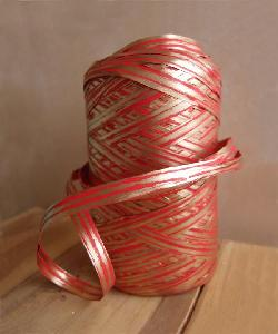 Upscale Raffia Red & Gold - 5mm x 50 meters