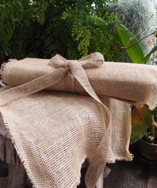 "Jute Sheet with Fringed Edge - 16"" x 16"""