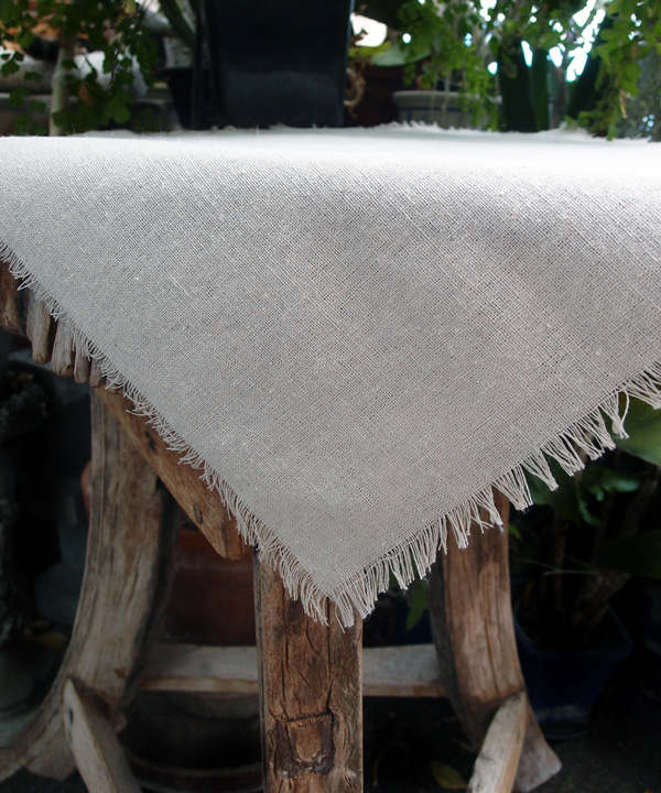 Linen Sheet with Fringed Edge