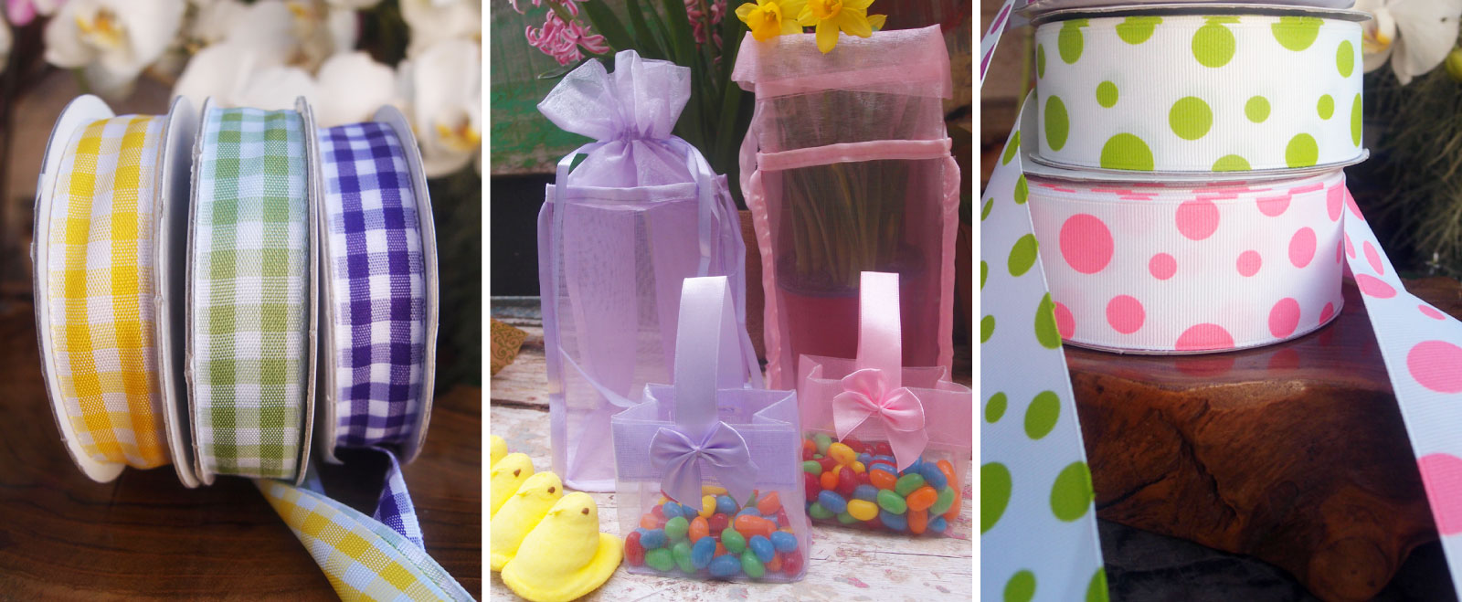Spring Easter Decor Gingham Ribbons Bags